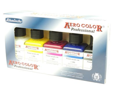 Schmincke Aero Color airbrush verfset met 5 basiskleuren